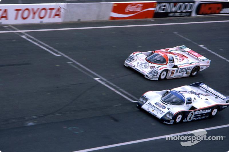 #2 Rothmans Porsche 962C: Derek Bell, Hans Stuck, #18 Brun Motorsport Porsche 956: Oscar Larrauri, M