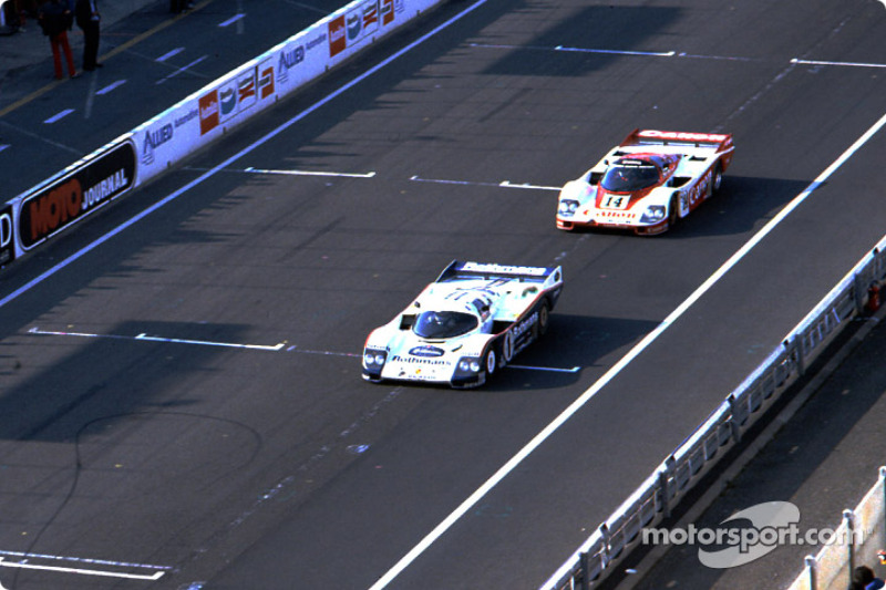 #1 Rothmans Porsche Porsche 962C: Jacky Ickx, Jochen Mass; #14 Richard Lloyd Racing Porsche 956: Jonathan Palmer, James Weaver, Richard Lloyd