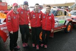 Drivers for Team Repsol Mitsubishi Ralliart: Stéphane Peterhansel, Hiroshi Masuoka, Luc Alphand and Nani Roma