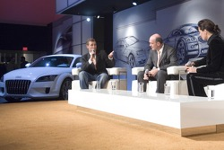 Tom Kristensen and Head of Audi Motorsport Dr Wolfgang Ullrich during the interview with Désiré Nosbusch