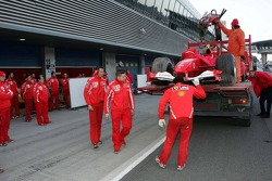Ferrari, Michael Schumacher back pit stop after having stopped, track