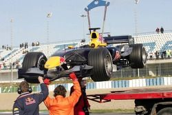 Car of Christian Klien returns to the pits