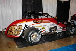 Mike Roselli's #198 Silver Crown car. This species is endangered by the new all-pavement streamlined Silver Crown series.