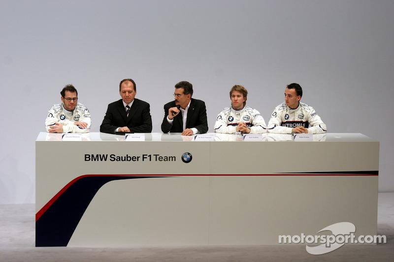 Jacques Villeneuve, Willy Rampf, Mario Theissen, Nick Heidfeld and Robert Kubica