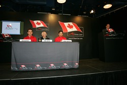Sean McIntosh, John Surtees and Patrick Carpentier on stage