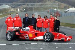 Stephano Domenicali, Paolo Martinelli, Luca di Montezemolo, Piero Ferrari, Luca Badoer, Felipe Massa, Michael Schumacher, Jean Todt