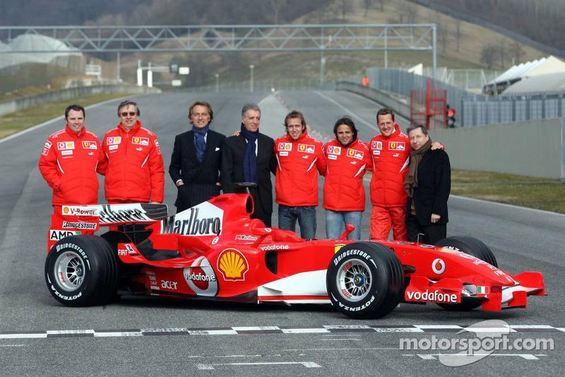 Stephano Domenicali, Paolo Martinelli, Luca di Montezemolo, Piero Ferrari, Luca Badoer, Felipe Massa