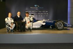 Nico Rosberg, Frank Williams und Mark Webber mit dem Williams FW28