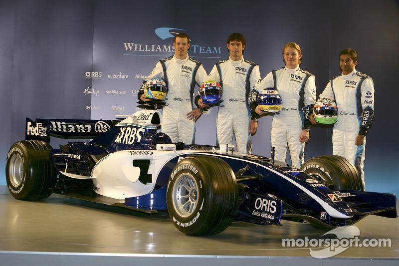Alexander Wurz, Mark Webber, Nico Rosberg y Narain Karthikeyan con el nuevo Williams FW28