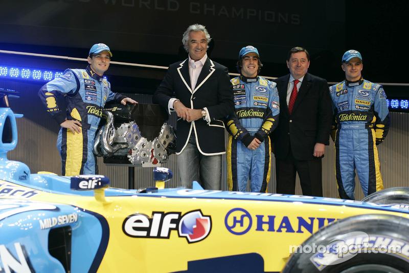 Giancarlo Fisichella, Flavio Briatore, Fernando Alonso, Patrick Faure ve Heikki Kovalainen