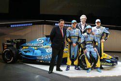 Patrick Faure, Heikki Kovalainen, Flavio Briatore, Fernando Alonso ve Giancarlo Fisichella