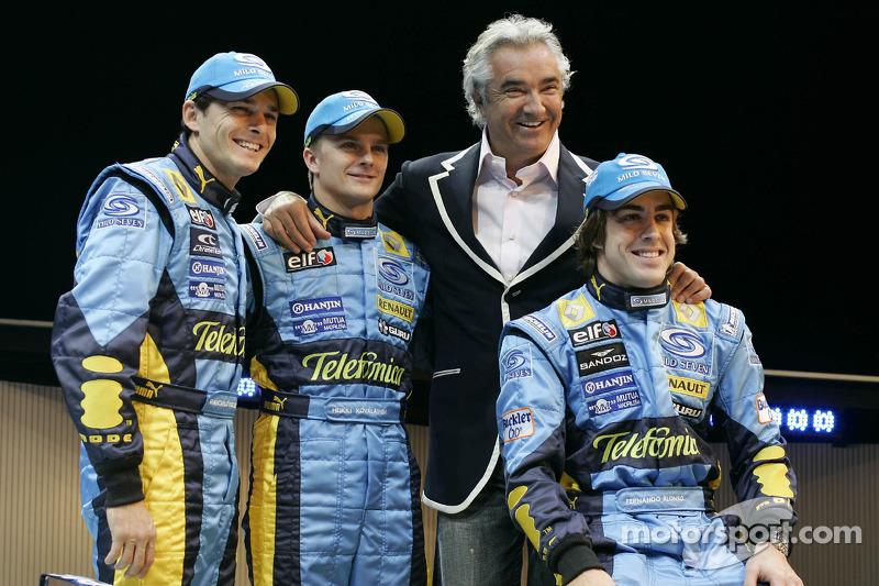 Giancarlo Fisichella, Heikki Kovalainen, Fernando Alonso ve Flavio Briatore