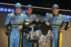 Fernando Alonso, Heikki Kovalainen and Giancarlo Fisichella