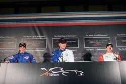 Conférence de presse: le vainqueur de la pole position Alexandre Premat avec Robbie Kerr et Neel Jan