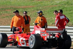 Michael Schumacher stopped, track