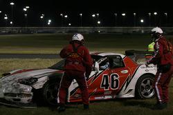 #46 Michael Baughman Racing Corvette: Michael Baughman, Ray Mason, John Connolly, Frank Del Vecchio, Bryan Collyer pulled from the tire wall