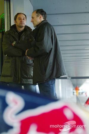 Le co-propriétaire de la Scuderia Toro Rosso Gerhard Berger et Franz Tost