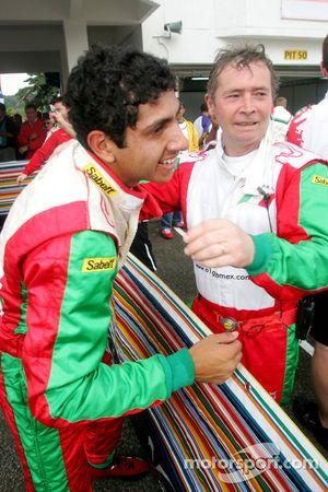 Salvador Duran celebrates third place finish