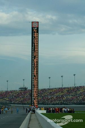 Final race results are shown on the scoring pylon