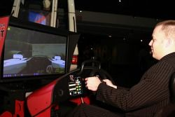 A guest tries the racing sim