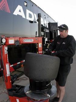A Yokohama technician prepares tires