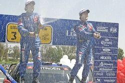 Podium: champagne for Sébastien Loeb and Daniel Elena