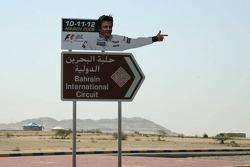 Kimi Raikkonen gives direction to Bahrain International Circuit