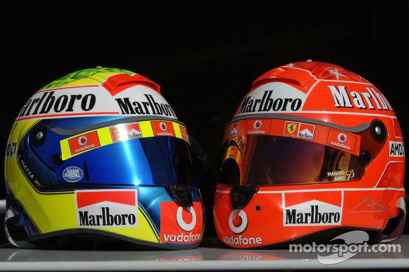 Helmets of Felipe Massa and Michael Schumacher at Bahrain GP
