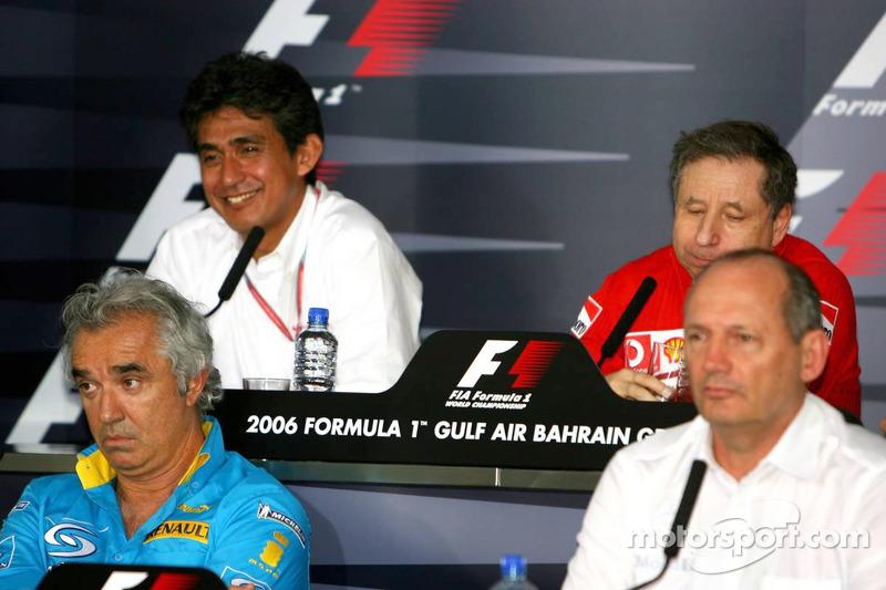 Conferencia de prensa FIA: Ron Dennis, Aguri Suzuki, Flavio Briatore y Jean Todt