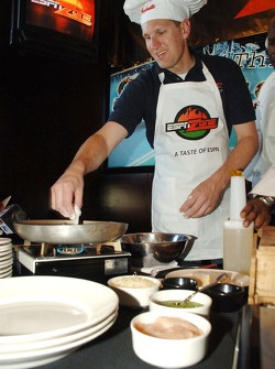 Mark McFarland participates in the first annual Raybestos Rookie cooking Challenge