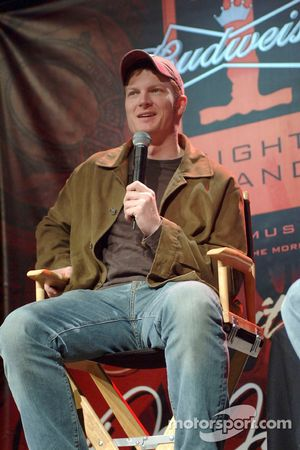 Dale Earnhardt Jr. answers questions during the Budweiser One Night Stand at the Hard Rock Hotel