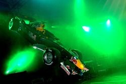 Red Bull Racing RB2 flies over stage during presentation