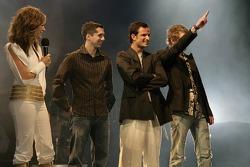 Neel Jani, Vitantonio Liuzzi and Scott Speed on stage