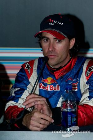 Team USA driver Bryan Herta talks to the media about him topping the time sheet in Practice 1
