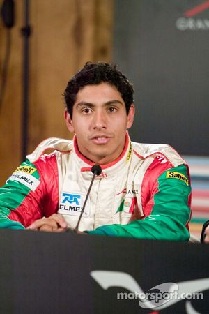 Team Mexico driver Salvador Duran speaks with the media about his 2nd placing in Practice 1