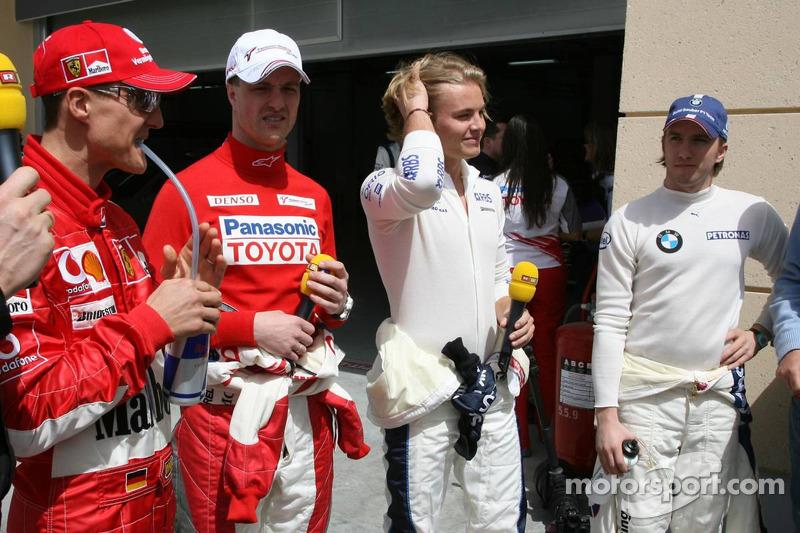 Michael Schumacher, Ralf Schumacher, Nico Rosberg y Nick Heidfeld
