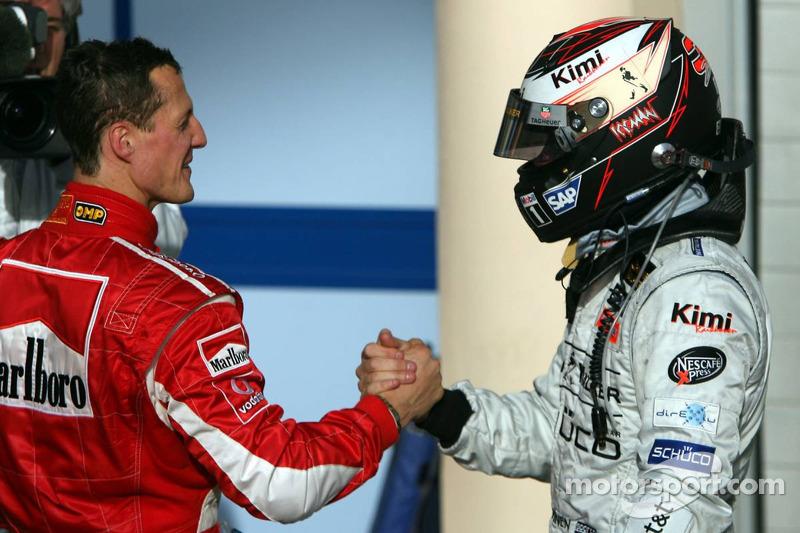Michael Schumacher y Kimi Raikkonen, 2º y 3º