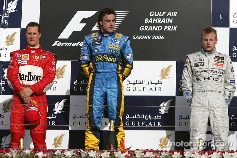 Podio: Fernando Alonso, Michael Schumacher y Kimi Raikkonen