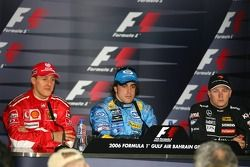 Press conference: race winner Fernando Alonso with Michael Schumacher and Kimi Raikkonen