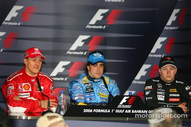 Rueda de prensa: Fernando Alonso, Michael Schumacher y Kimi Raikkonen