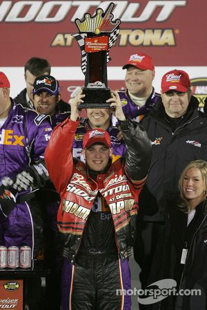 Victory lane: race winner Denny Hamlin celebrates