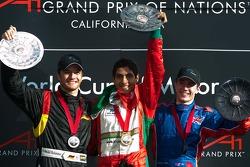 Podium: race winner Salvador Duran with Timo Scheider and Robbie Kerr
