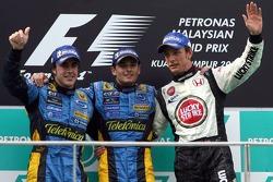Podium: Sieger Giancarlo Fisichella, 2. Fernando Alonso, 3. Jenson Button