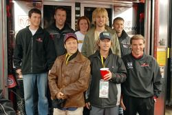 Kasey Kahne, Jeremy Mayfield, Rob Schneider, Erin Crocker, John Heder, David Spade, Scott Riggs and Ray Evernham pose for a photo