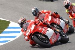 Loris Capirossi, Ducati; Sete Gibernau, Ducati; Marco Melandri, Honda