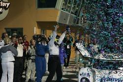 Victory lane: race winner Mike Rockenfeller celebrates