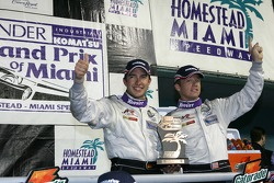 DP podium: class and overall winners Mike Rockenfeller and Patrick Long celebrate