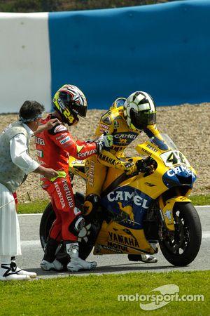 Valentino Rossi, Yamaha; Toni Elias, Honda