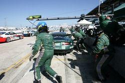 Pitstop practice for #009 Aston Martin Racing Aston Martin DB9: Jason Bright, Pedro Lamy, Stéphane Sarrazin