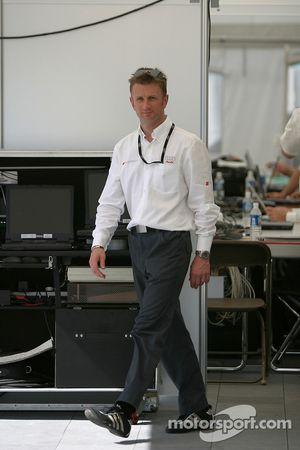Allan McNish in the Audi paddock area